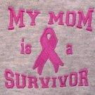 My Mom Survivor TShirt Breast Cancer Pink Ribbon Gray Crewneck S/S 4X Unisex New