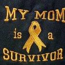 My Mom is a Survivor Orange Ribbon Black SS T Shirt Poly Cotton Blend S New