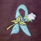 Ovarian Cancer Myasthenia Gravis Teal Ribbon Rose Brown L/S T-Shirt 4X New