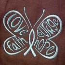 Hope Courage Faith Teal Butterfly Brown L/S T Shirt Ovarian Cancer 3X Unisex New