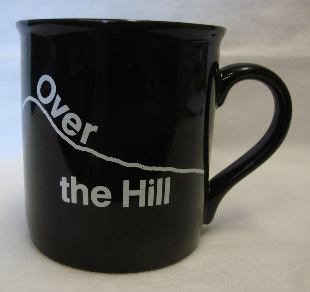 Hallmark Black White Over The Hill 50 Birthday Old Age Cup Mug Vintage