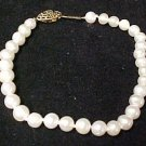 "Elegant White Faux Pearl Bracelet Ornate Catch 8"" Costume Jewelry New Free Ship"