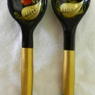 Set of 2 Hand Carved Painted Gold Black Oriental Wood Wooden Spoons Vintage