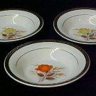 3 Limoges Vermillion Rose Triumph Fruit Berry Bowls Sebring Ohio Vintage