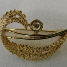 Costume Fashion Gold Plated Open Jagged Curled Leaf Pin Brooch Vintage