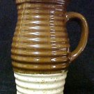 Art Pottery Pitcher Hand Made Turned Brown Tan Stoneware Jug Handled Collectible