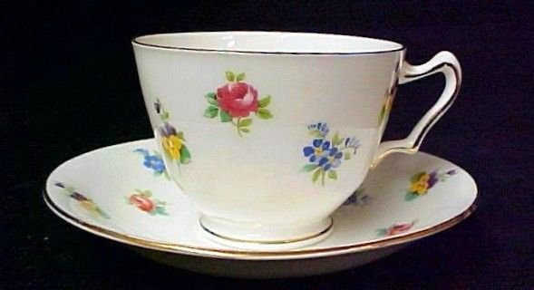 Crown Staffordshire England China Flower Pansy Rose Cup Saucer Set Vintage