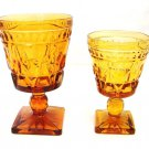 2 Vintage Indiana Park Lane Amber Footed Pedestal Water Wine Juice Glass