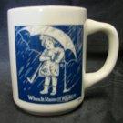 Morton Salt Girl 1914 When It Rains Pours Girl Umbrella D Handle Mug Vintage