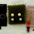 Fashion 4 Pc Lot Earrings Sterling Silver Hoop Stud Pearl Bead Dangle Pierced