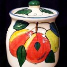 Cookie Biscuit Treat Jar Canister Buckeye Pottery Fruit Design M A Bucci New