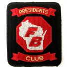 Vintage Wisconsin Presidents Club FB Embroidered Patch Stop Sign Shoulder Chest
