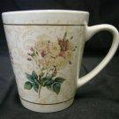 Hallmark White Pink Rose Flower Floral Bouquet Scroll Coffee Cup Mug Vintage