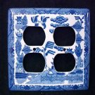 Blue Willow Porcelain Double Outlet Cover Plate 4 Holes