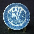 Blue Willow China Miniature Plate with Brass Display Stand Collectible New