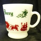Vintage Hazel Atlas Tom and Jerry Mug Christmas Holiday Egg Nog Punch Cup Glass