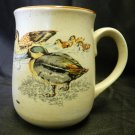 Pottery Duck Cup Mug Teal Drake Hen Ducklings Bird Waterfowl Vintage