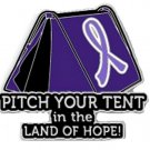 Lavender Awareness Ribbon Pin Pitch Your Tent in Land of Hope Camping Camper New