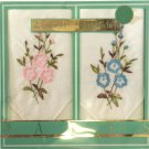 Vintage Lot of 2 Embroidered Handkerchief Hankies Pink Blue Floral Paris France
