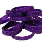Alzheimer's Disease Lot of 12 Purple Awareness Bracelets Silicone Wristbands New
