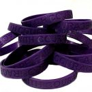 Cystic Fibrosis CF Lot of 100 Purple Awareness Bracelets Silicone Wristbands New