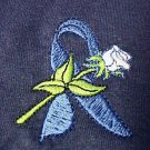 Colon Cancer Child Abuse Awareness Ribbon Rose Navy S/S T-Shirt L Unisex New