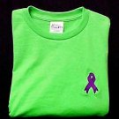 Purple Ribbon Large S/S T Shirt Lime Embroidered Alzheimer's Crohn's Unisex New