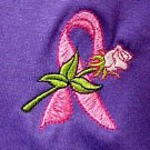 Breast Cancer Sweatshirt M Pink Ribbon White Rose Purple Crew Neck Unisex New