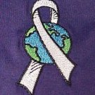 World Pale Gray Ribbon Brain Cancer Diabetes Purple S/S T Shirt 5X 50/50 New