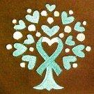Teal Ribbon Heart Hoodie 4XL Sweatshirt Tree of Life Brown Ovarian Cancer New
