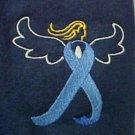 Colon Cancer Blue Ribbon Angel Navy S/S Crew Neck T Shirt 5X Unisex New