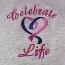 Celebrate Life Purple Pink Heart Gray Hoodie Sweatshirt 2X Unisex New
