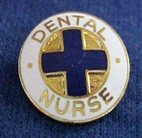 Dental Nurse Blue Cross Gold Plate Medical Insignia Emblem Pin New 816