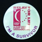 Relay for Life Button Pin I'm A Survivor White American Cancer Society Teams