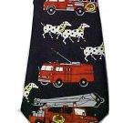 Multi Colored Polyester Black Men's Neck Tie Dalmatian Dog Fire Engine Truck