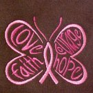 Breast Cancer Butterfly Hope Faith Love Courage Brown Hooded Sweatshirt M New