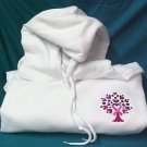 Pink Ribbon Heart Hoodie Large Sweatshirt Tree of Life White Breast Cancer New