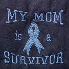 My Mom is a Survivor Light Blue Ribbon Navy S/S T-Shirt 50/50 Unisex M New