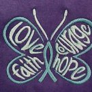 Ovarian Cancer Teal Hope Courage Butterfly S/S Purple T Shirt 50/50 L Unisex New