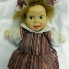 "Mini Miniature 6"" Plastic Head Striped Smock Bonnet Doll Vintage Collectible"