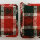 Set of 2 Christmas Holiday Red Green Tree Star Kitchen Pot Holders Decorative