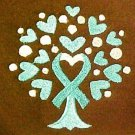 Teal Ribbon Heart Hoodie Large Sweatshirt Tree of Life Brown Ovarian Cancer New