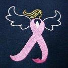 Breast Cancer Sweatshirt Pink Awareness Ribbon Angel Navy Blue Crew Neck 3XL New