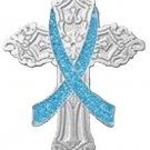 Light Blue Ribbon Cross Awareness Pin Church Religious Inspire Many Cancer Cause