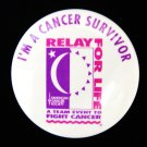 Relay for Life Button Pin White ACS I'm A Cancer Survivor Team Spirit VGUC