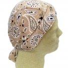 Tan Khaki Paisley Chemo Cancer Head Cover Cap Durag Polyester Spandex New