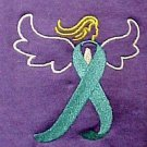 Ovarian Cancer Awareness Ribbon Angel Purple T Shirt Small Embroidered New