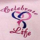 Celebrate Life Pink Purple Heart Cancer Awareness Pink Hoodie Sweatshirt M New