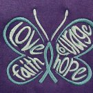 Ovarian Cancer Teal Hope Courage Butterfly S/S Purple TShirt 50/50 2X Unisex New