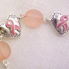 Pink Ribbon Heart Bead Bracelet Lobster Claw Clasp Breast Cancer Awareness New